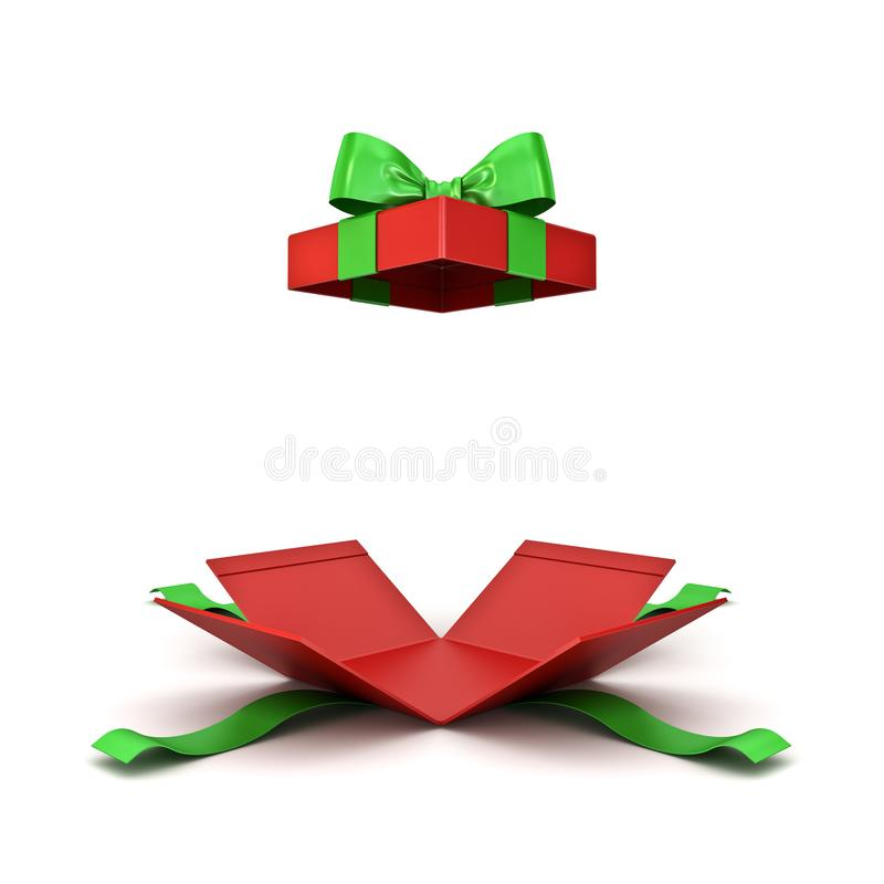 Open christmas gift box or red present box with green ribbon bow isolated on white background stock illustration