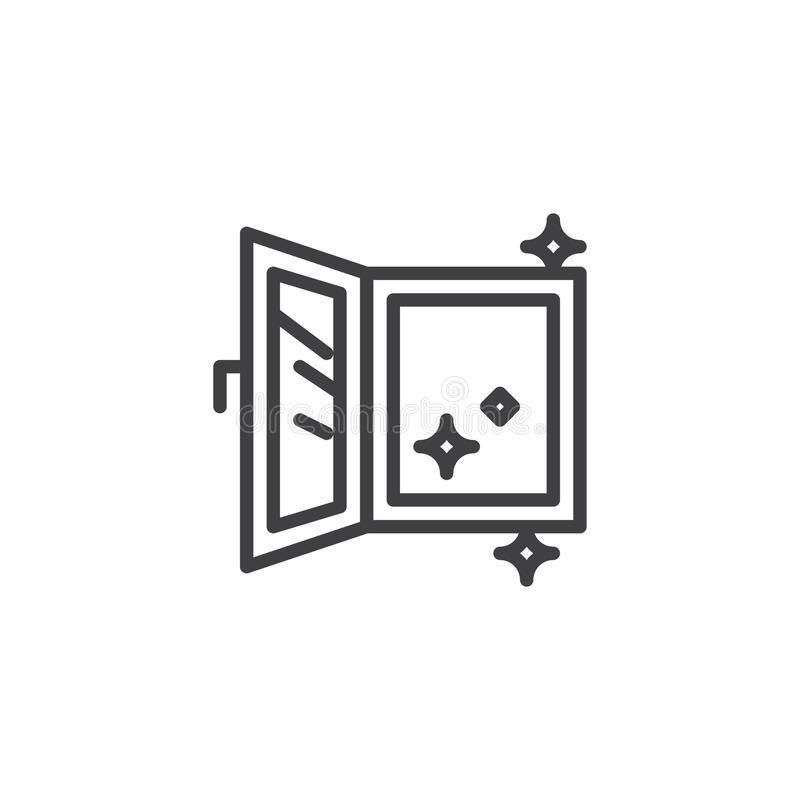 Open clean window outline icon royalty free illustration