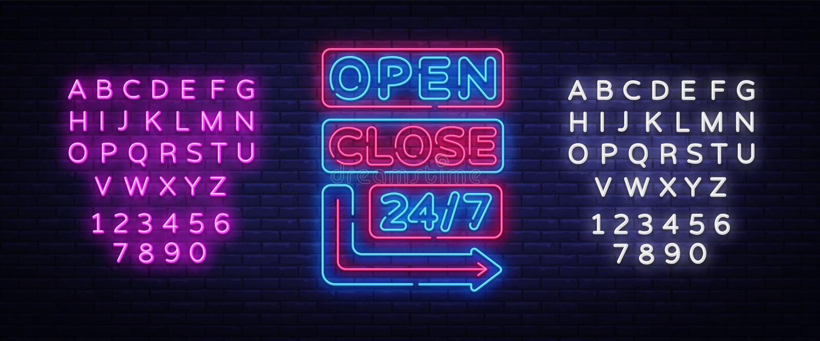 Open Close neon signs vector. Neon Signboards Design template, light banner, night signboard, nightly bright advertising stock illustration