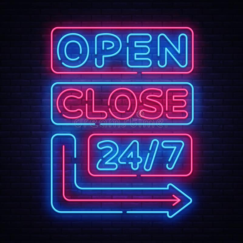 Open Close neon signs vector. Neon Signboards Design template, light banner, night signboard, nightly bright advertising royalty free illustration