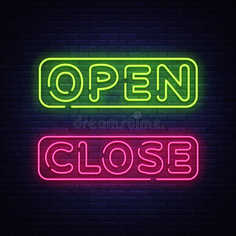 Come In We Are Open Neon Sign Vector Design Template  Open