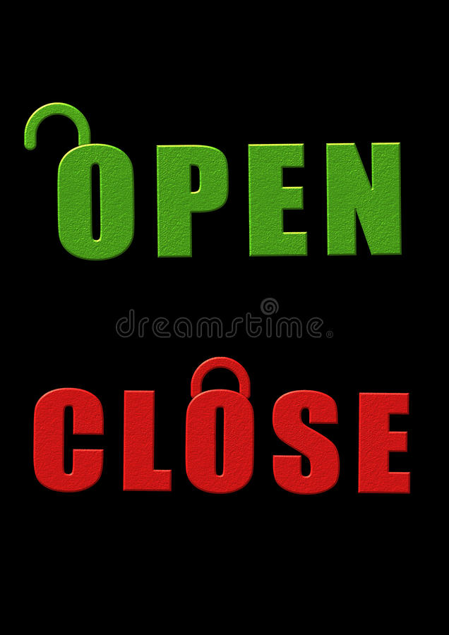 Open close sign board royalty free illustration