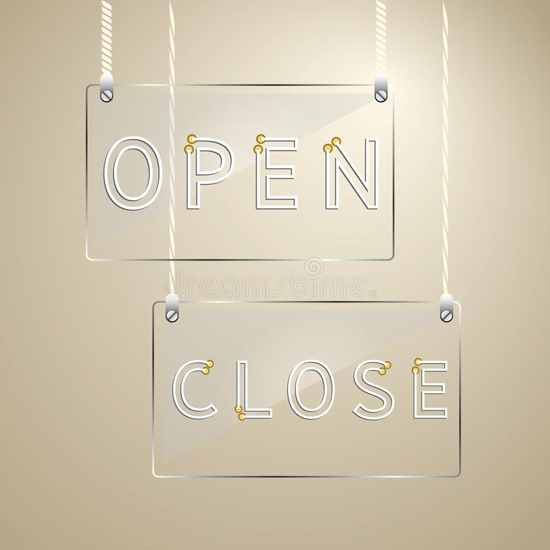 Open and close sign on glass design element royalty free illustration