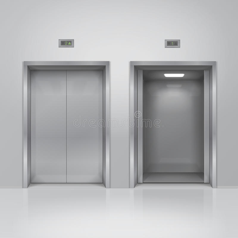 Open and closed chrome metal building elevator doors. Realistic vector royalty free illustration