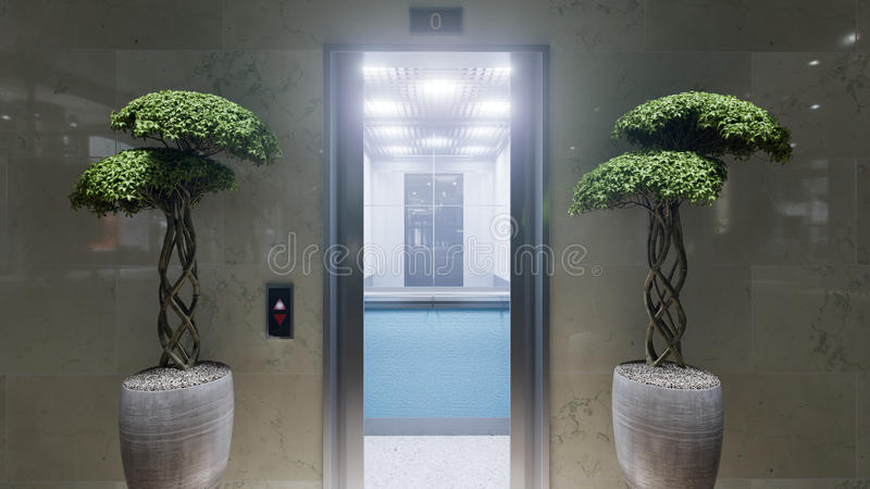 Open and closed chrome metal office building elevator doors concept stock images