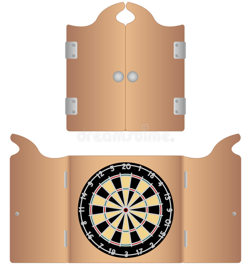 Open And Closed Dartboard Cabinet Royalty Free Stock Images