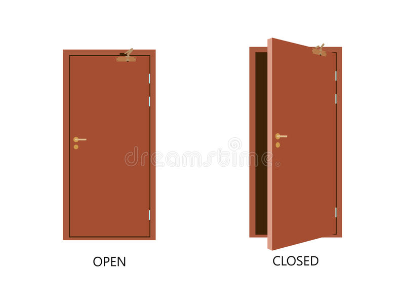 Open and closed door house front. Wooden open entry with shining light. Vector. Illustration royalty free illustration