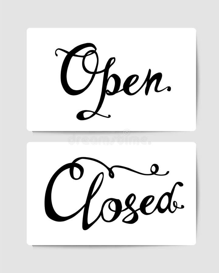 Open, closed. Door signs. Hand written words vector illustration