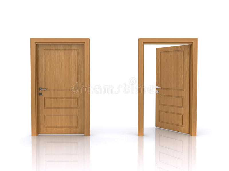 Download Open and closed doors stock illustration. Image of wooden - 18207749