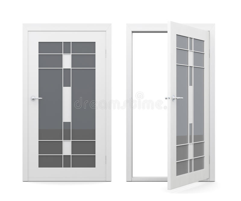 Open And Closed Glass Doors On White Background. 3d Ren Stock ...