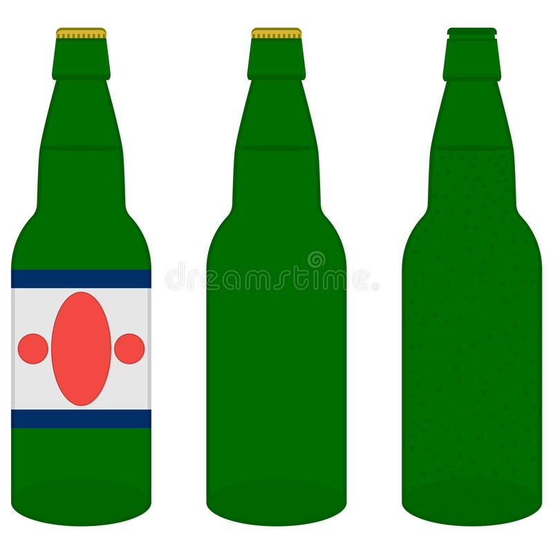 Open and closed green bottles of light beer with bubbles, cap and label on white background. Isolated vector icons. vector illustration