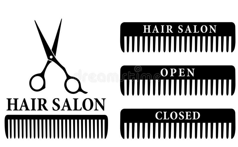 Open and closed hair salon sign with scissors and royalty free illustration