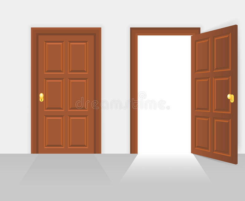 Open And Closed House Front Door Vector Illustration Stock Vector