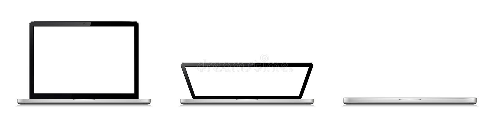 Open and closed laptop. Laptop lid opening stages stock photo