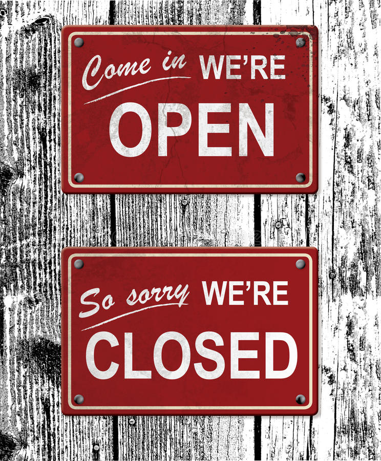 Open and closed metal signs royalty free illustration