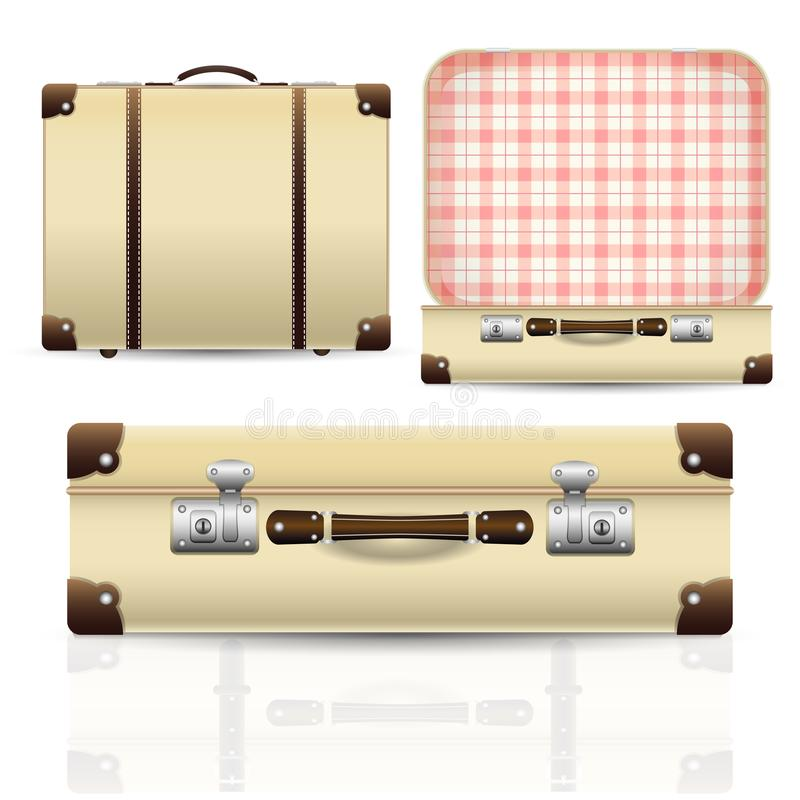 Open and closed old retro vintage suitcase stock illustration