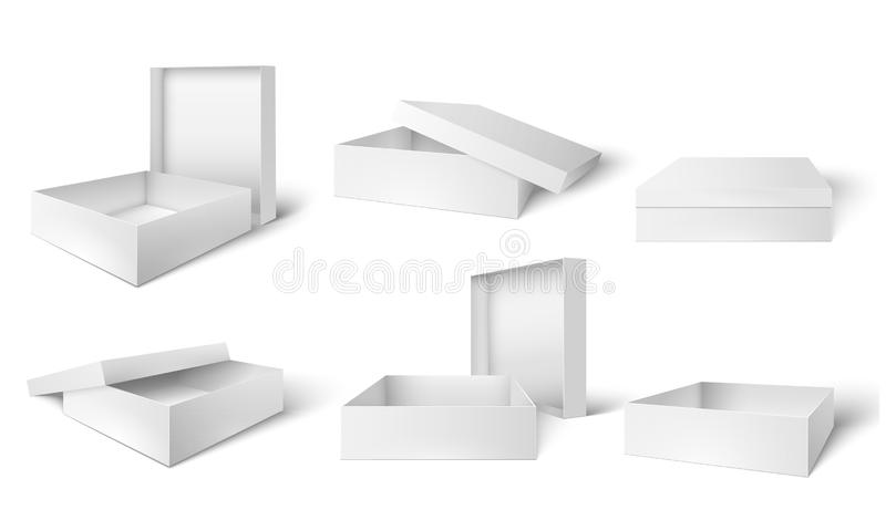 Open and closed packaging box. White cardboard boxes, gift or product package and empty pack 3d isolated vector set vector illustration