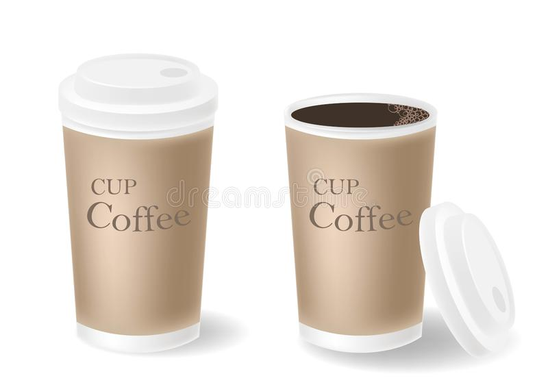 Open and closed realistic paper cups with coffee stock illustration