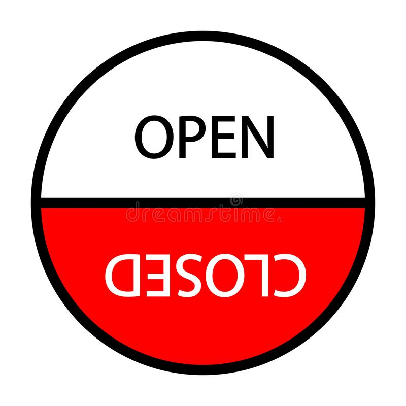 Open closed sign. Round sign. Eps ten stock illustration