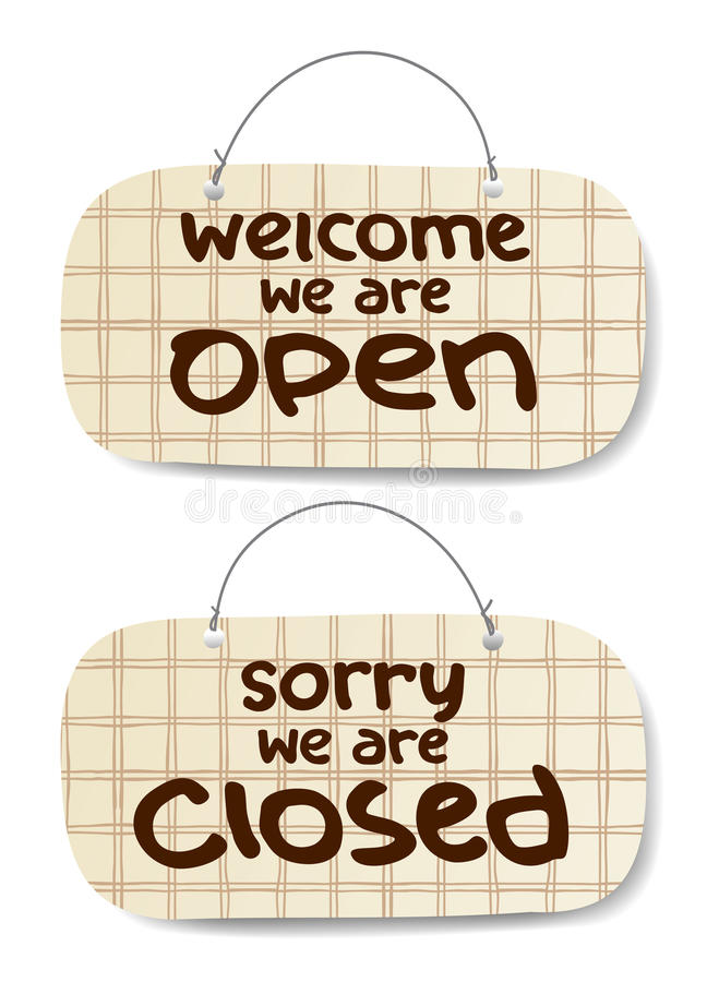 Open and Closed Signs stock illustration