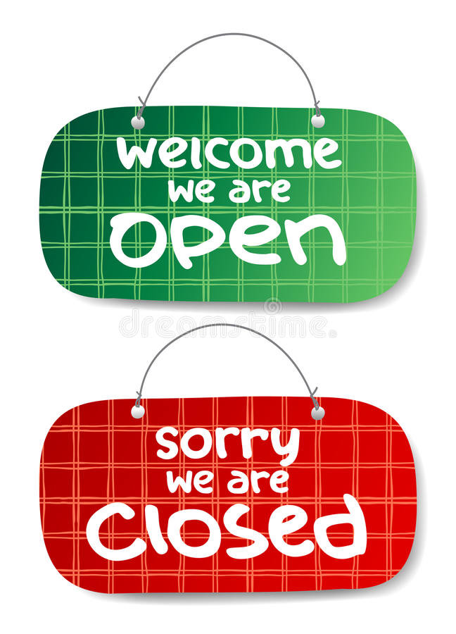 Open and Closed Signs vector illustration