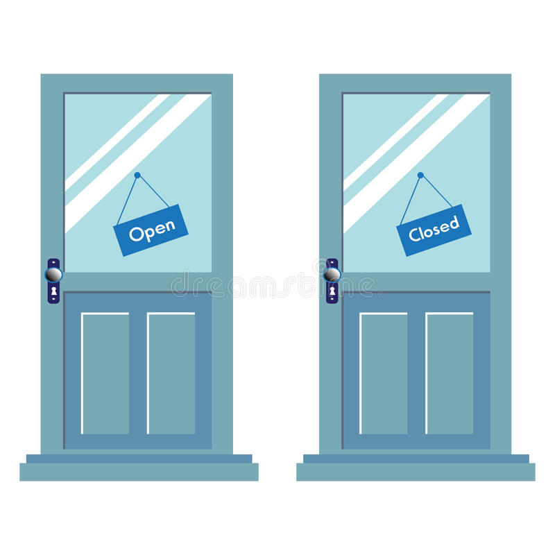 Download Open And Closed Signs On Two Doors Stock Vector - Image: 22712813