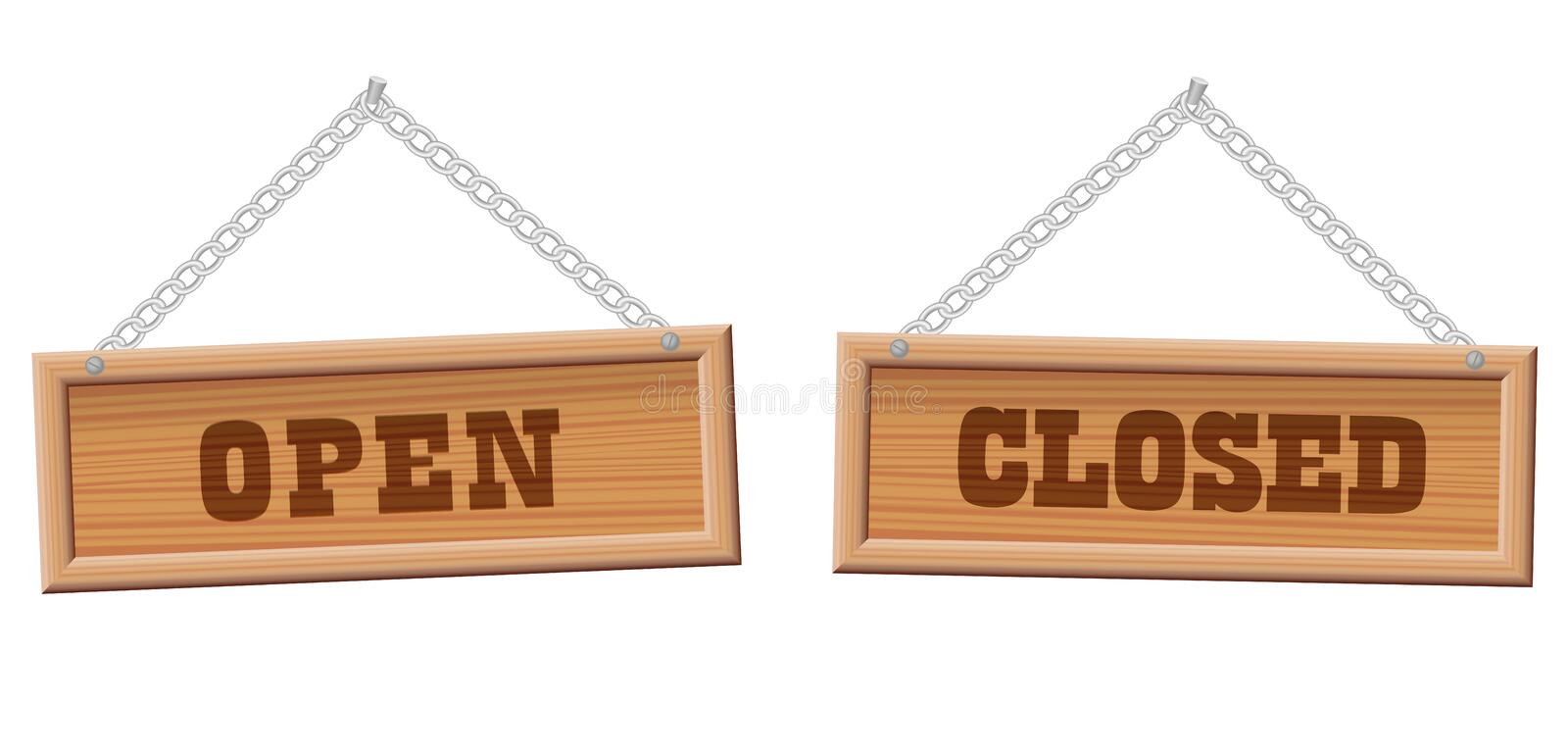 Open Closed Store Sign Wooden Boards stock illustration