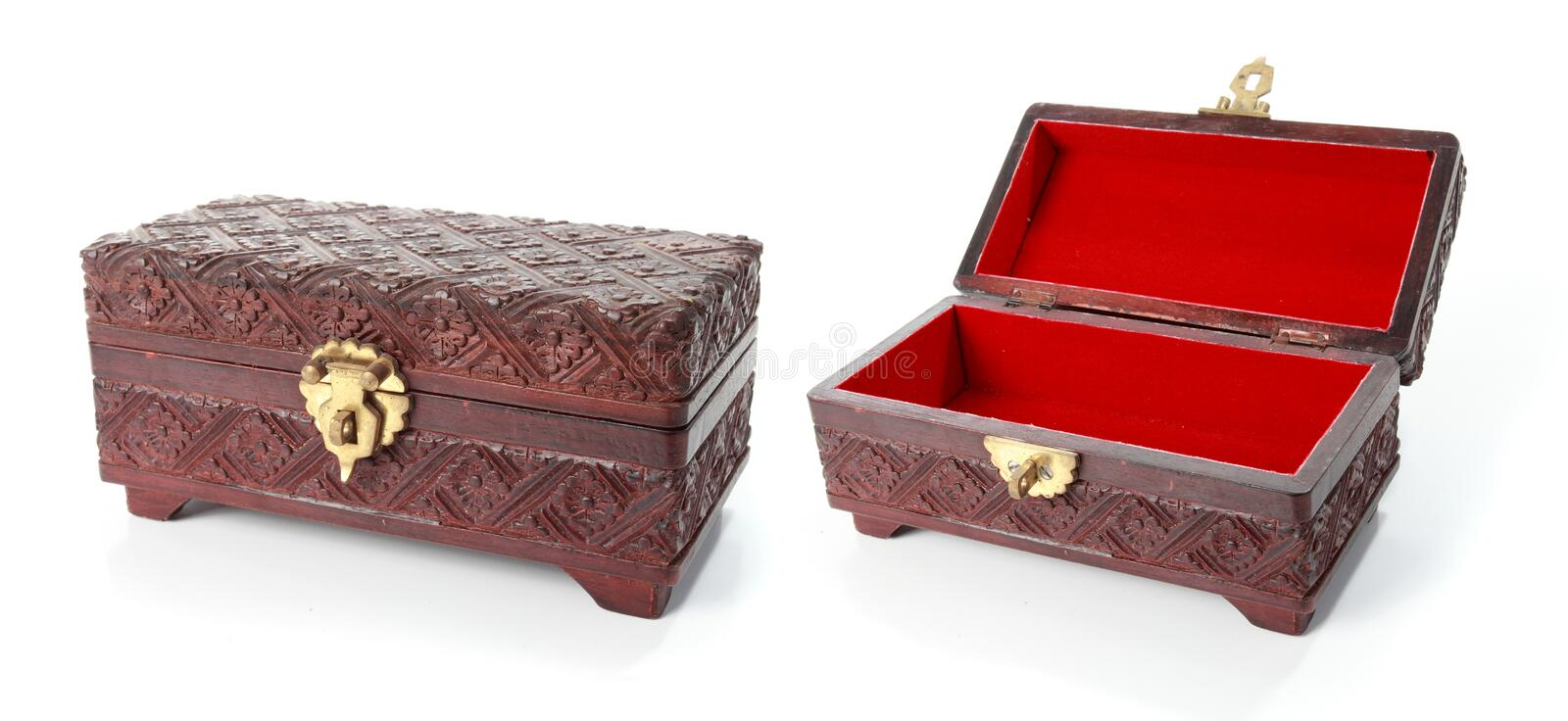 Open and closed treasure chest stock photos