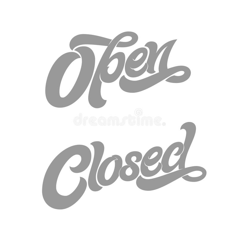 OPEN CLOSED typography for design of sign on the door of shop, cafe, bar or restaurant. Vector typography on white royalty free illustration