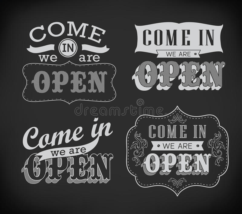 Open and Closed Vintage retro signs royalty free illustration