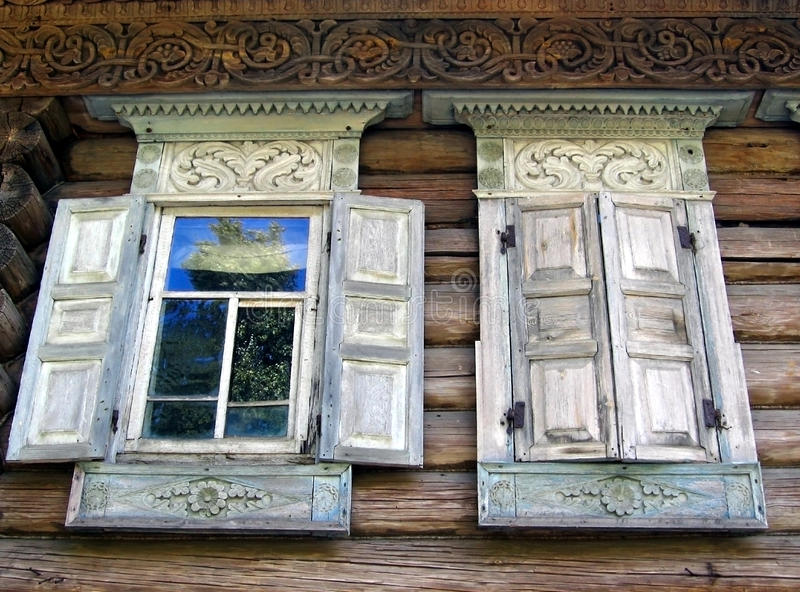 Open And Closed Windows Of An Old Country House Editorial Photo