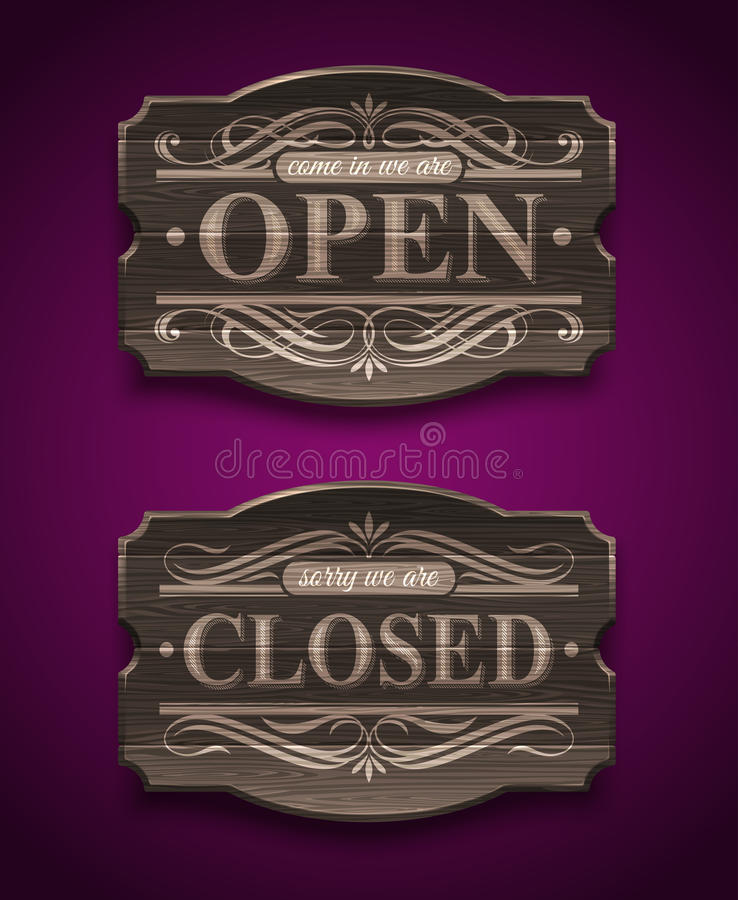 Download Open And Closed Wooden Vintage Signs Stock Vector - Illustration of sign, ornate: 31422862