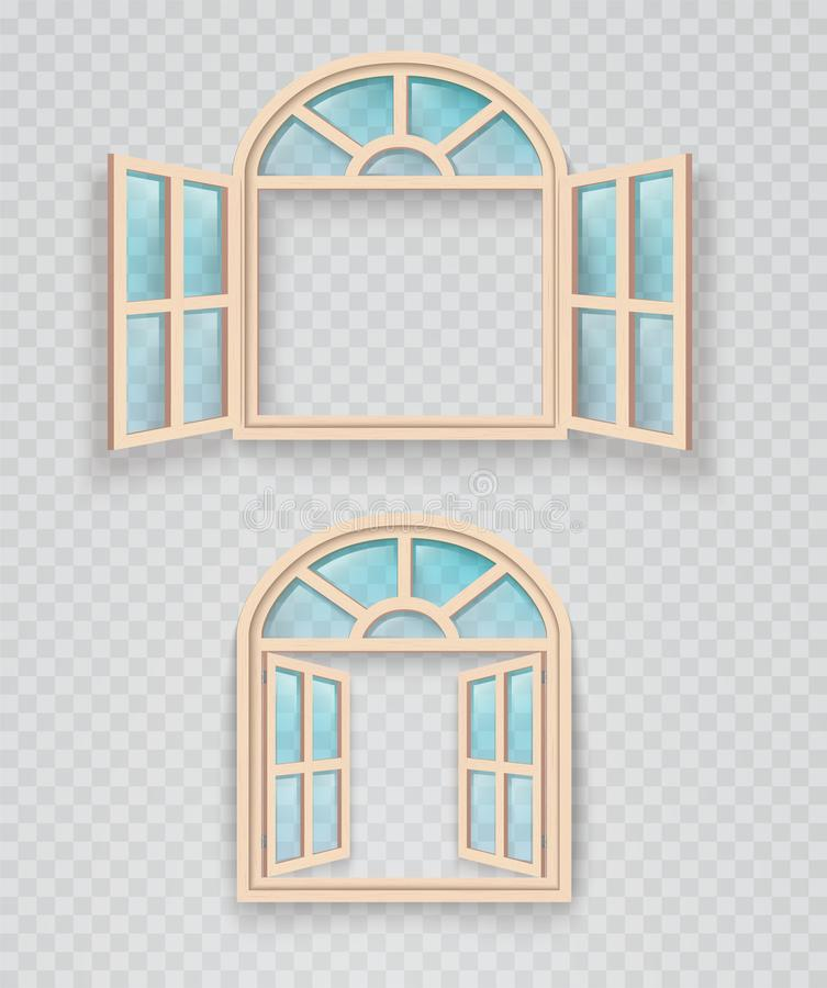 Open and closed wooden window on a transparent background. Exterior and interior window frames. Illustration stock illustration