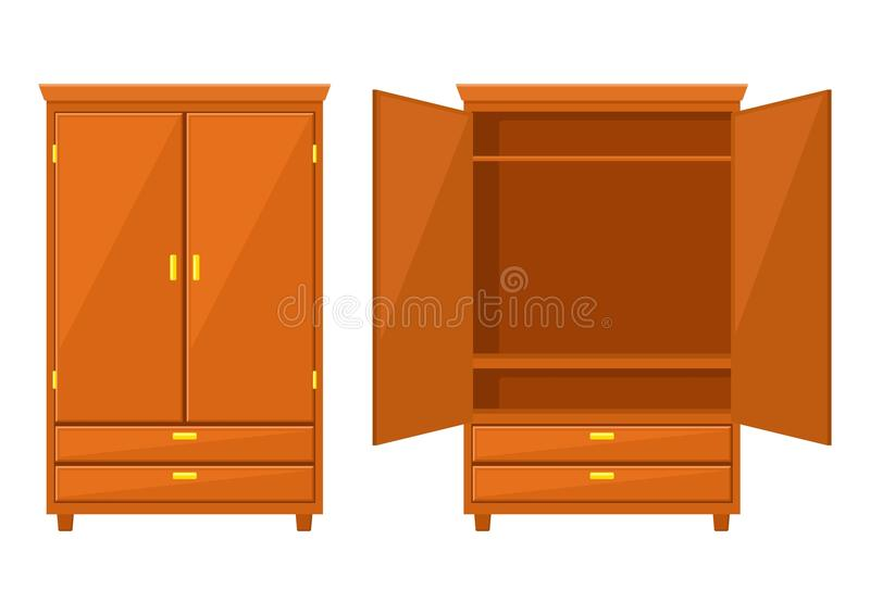 Open and closet wardrobe isolated on white background .Natural wooden Furniture. Wardrobe icon in flat style. Room royalty free illustration