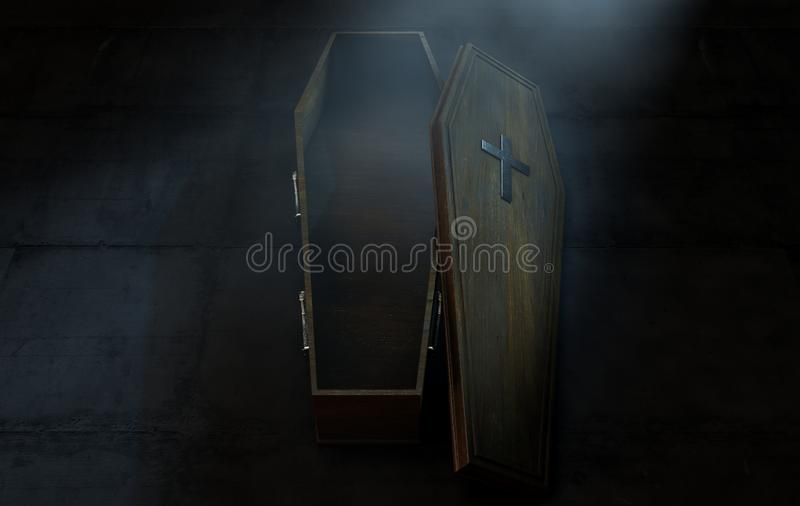 Open Coffin And Crucifix vector illustration