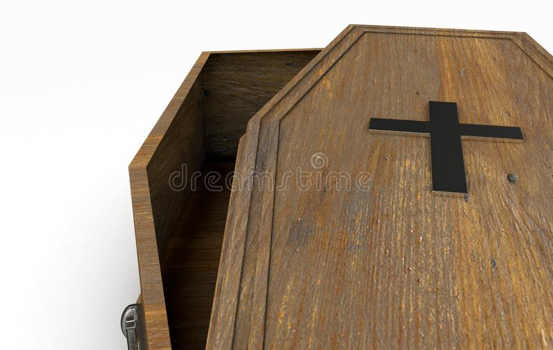 Open Coffin And Crucifix royalty free illustration