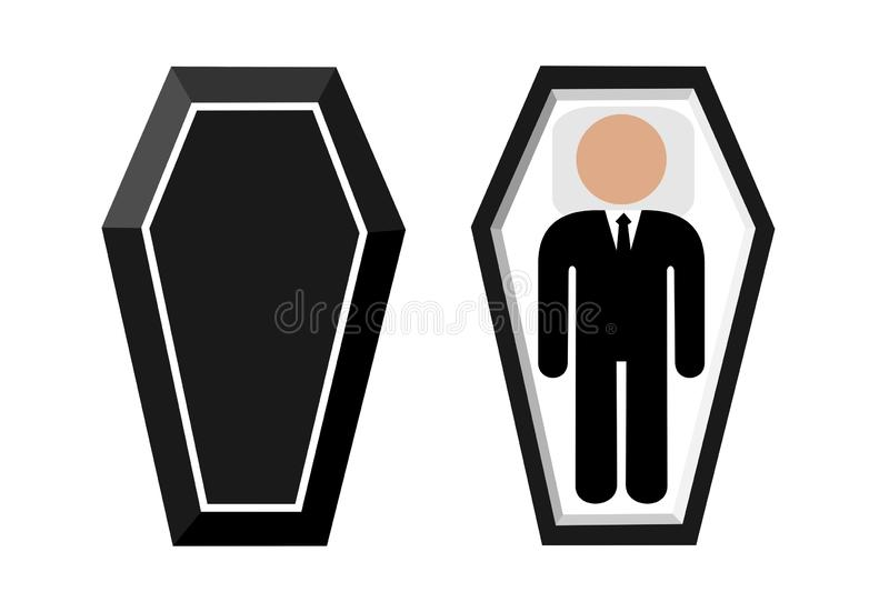 Open coffin with dead deceased body. Funeral after death. Cadever is lying in the black coffin. Vector illustration stock illustration