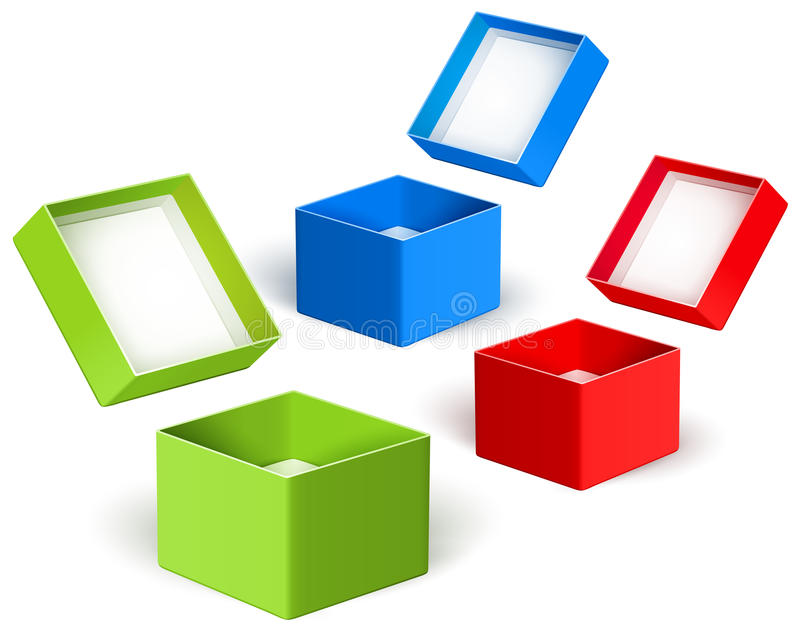 Open color boxes. Vector royalty free stock photos