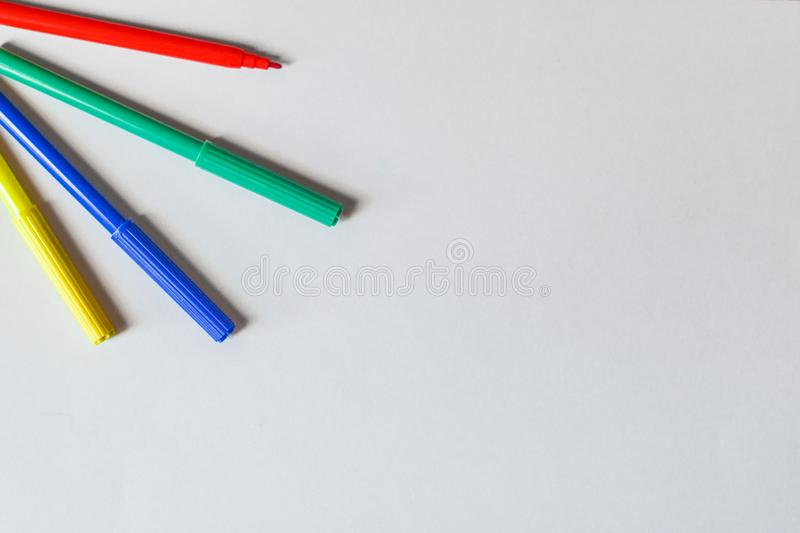 Open Colored Markers Isolated on White Background royalty free stock photography