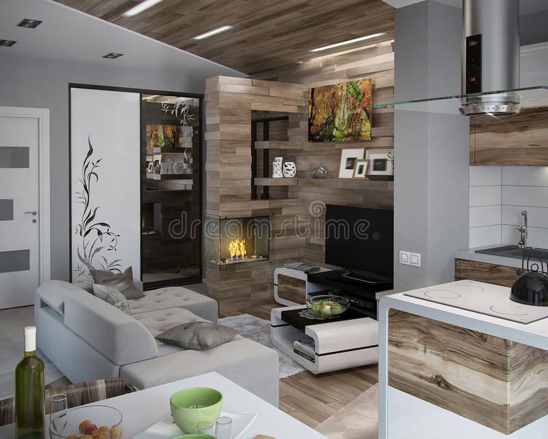 Open concept kitchen and living room, 3d render royalty free illustration