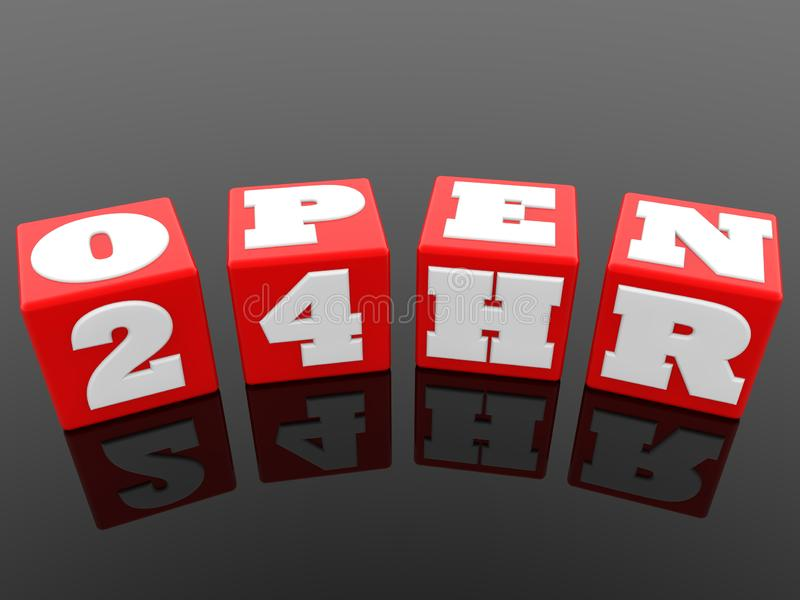 Open concept on red cubes on black background. In background royalty free illustration