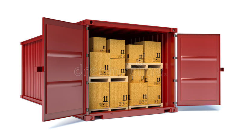 Open container with cardboard boxes.  royalty free illustration
