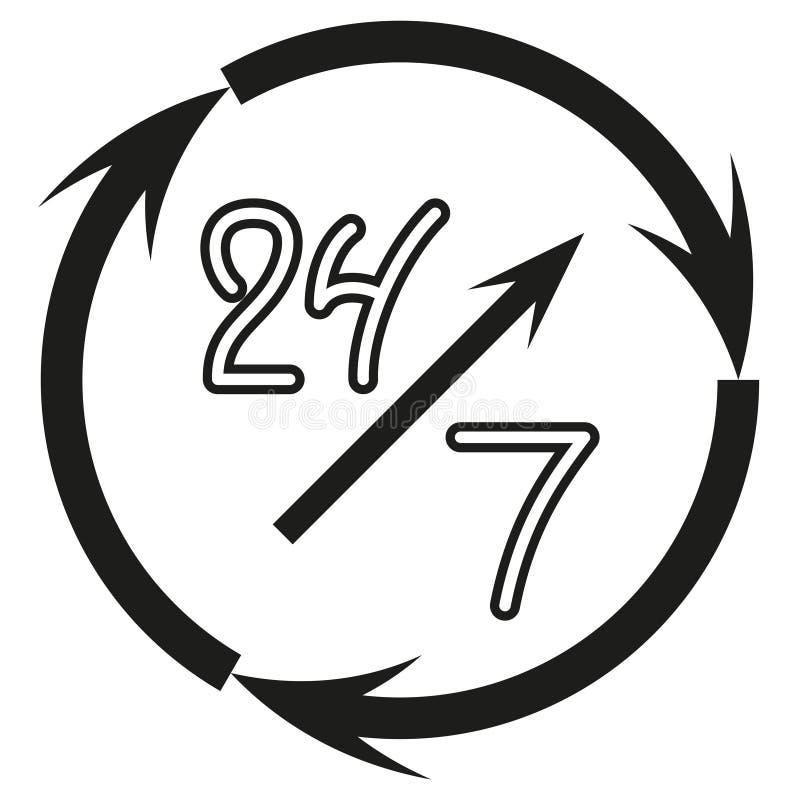 Open continu, teken 24 uur per dag en 7 dagen per week, hand getrokken die pictogram op witte achtergrond, vector wordt geïsoleer royalty-vrije illustratie