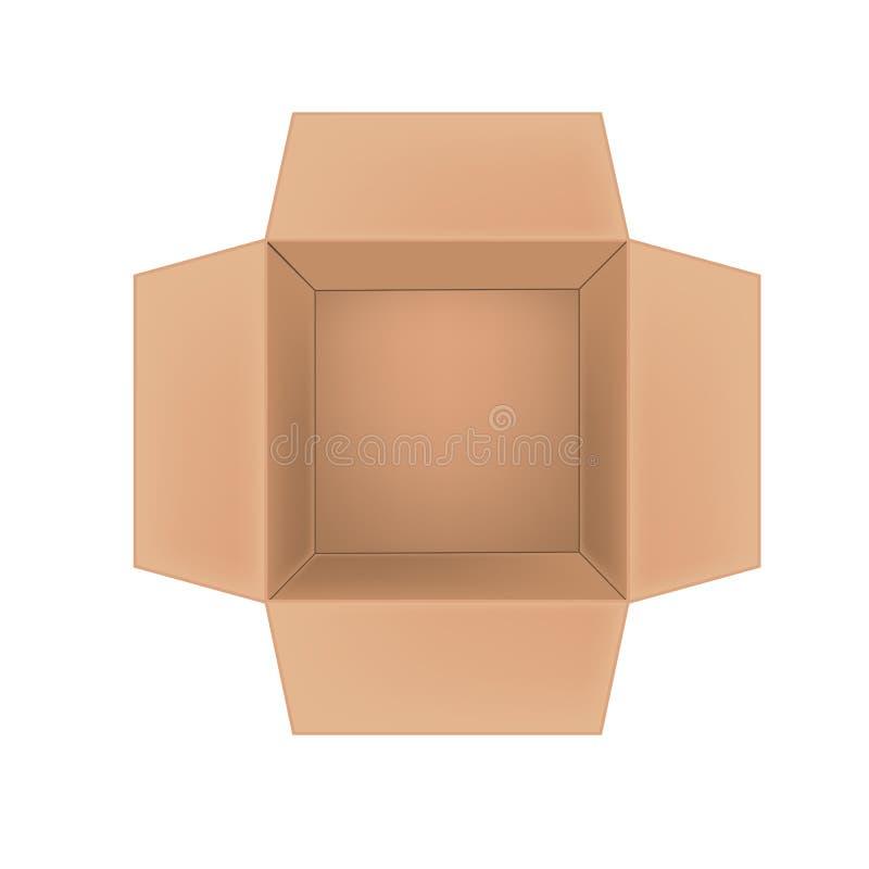 Open corrugated cardboard box on white background royalty free illustration