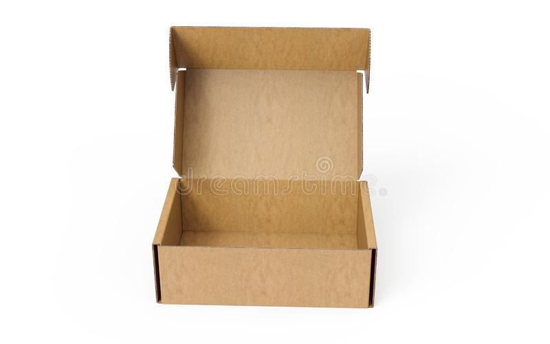 Open corrugated cardboard packaging box on white background. 3D rendering of cardboard box. Other dimensions, angles or constructions available on request stock illustration