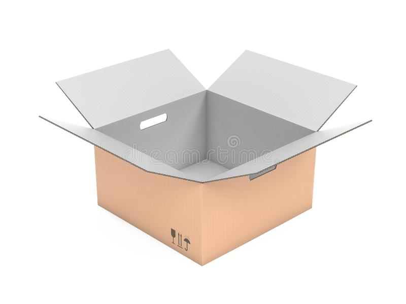 Open corrugated carton box with handle holes. White inside and brown outside. 3d rendering illustration isolated. On white background royalty free illustration