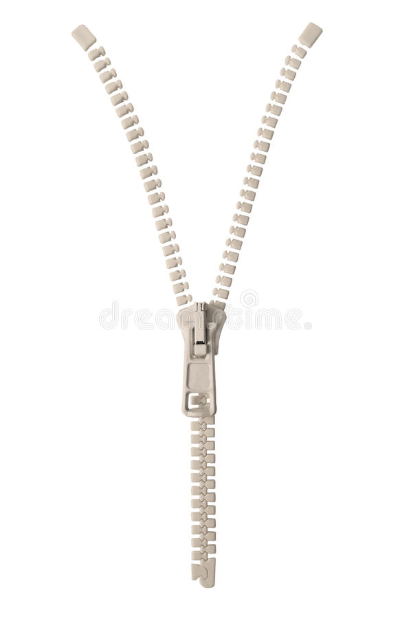 Open creamy white ivory zipper pull concept unzip metaphor, isolated macro closeup detail, large detailed partially opened royalty free stock images