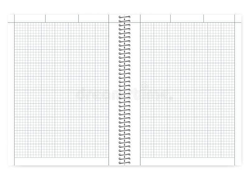 Open cross section wire bound engineering notebook, mockup. Open quad ruled cross section wire bound notebook with metal spiral, realistic vector mock up stock illustration