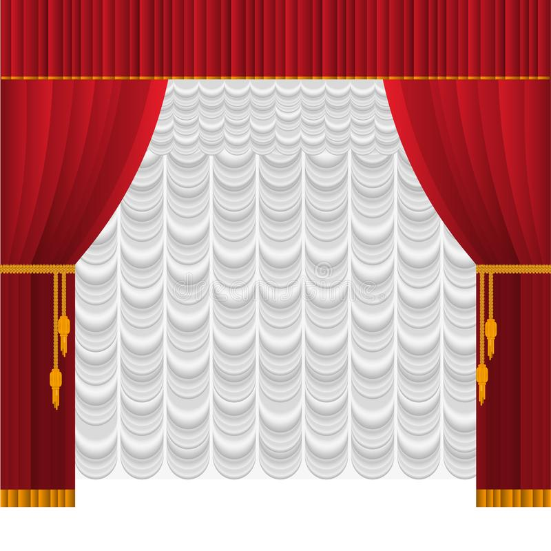 Curtain on stage. Open curtain on the stage of a theater or philharmonic with a white silk backdrop royalty free illustration