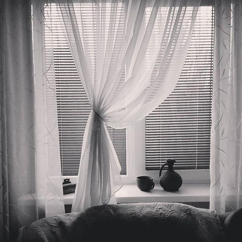 Open Curtains and Blinds In A Home stock photo